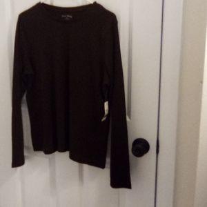 NWT Studio Works dark brown long sleeved Petite L